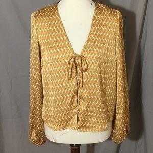 Forever 21 Silk Gold & White blouse